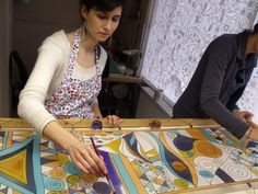 Hand painted silk scarves - http://silkyway.hu/english                                                                                                                                                     More