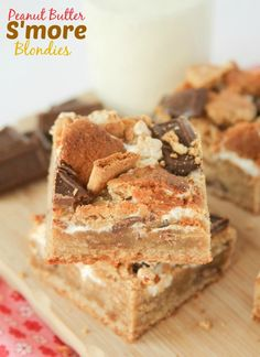 Peanut Butter S'more Blondies recipe.  You need these Peanut Butter S'more Blondies in your life — rich and chewy peanut butter bars loaded with graham cracker chunks, milk chocolate bar pieces, and marshmallow swirl.