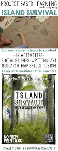 Your students have awoken on an deserted island. How are they going to survive? Food, shelter, water, who knows?  This project based learning activity asks students to problem solve and world-build, unlike anything they've done before.  It brings together design, SS, art, writing, and collaboration. Go to the island and get lost. $