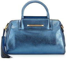 B Brian Atwood Sharon Mini Metallic Zip Satchel Bag, Cadet Blue