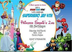 Personalised Princess and Super Hero Party Invitation in Home, Furniture & DIY, Celebrations & Occasions, Cards & Stationery | eBay