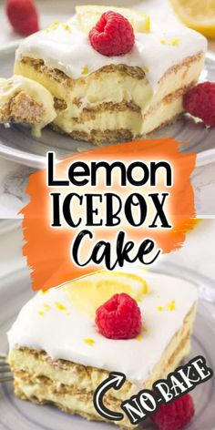 This lemon icebox cake is the perfect dessert recipe for summer. Graham crackers, pudding, lemon, whipped cream ...It's cold, creamy, super easy to make, and completely no bake. Cool Whip Desserts, Cold Desserts, Summer Desserts, No Bake Desserts, Just Desserts, Delicious Desserts, Sweet Desserts, Lemon Icebox Cake, Icebox Cake Recipes