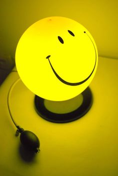 Yellow Smiley Night Lamp Lighting~ My little guy would love this