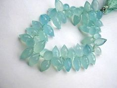 Chalcedony Gemstone  Peruvian Blue Faceted Elliptical by luxbeads, $5.25