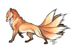 Yet another painting from my fantasy series, my nine tailed fox. Artwork (c) me, done in watercolor and pen.