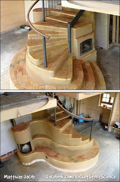 Masonry Stove staircase integration by Matthias Jacob Germany Spiral Staircase G Spiral Staircase Germany Integration Jacob Masonry Matthias spiral staircase Stove Cob Building, Building A House, Rocket Mass Heater, Rocket Stoves, Earth Homes, Natural Building, Earthship, Foyers, Future House