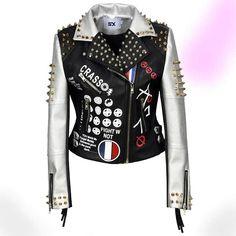 Leather Biker Vest, Studded Leather Jacket, Leather Shorts, Faux Leather Jackets, Punk Jackets, Vetement Fashion, Stylish Jackets, Bling, Jacket Style