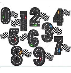 Race Track numeri carina Clipart digitale commerciale uso OK Dirt Bike Party, Race Car Party, Race Cars, Carros Hot Wheels, Hot Wheels Party, Birthday Cards For Brother, Disney Cars Party, Cricut Craft Room, Birthday Numbers