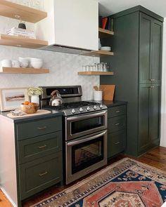 Eclectic Kitchen, Boho Kitchen, New Kitchen, Kitchen Decor, Sage Kitchen, Earthy Kitchen, Hipster Kitchen, Modern Retro Kitchen, Olive Kitchen