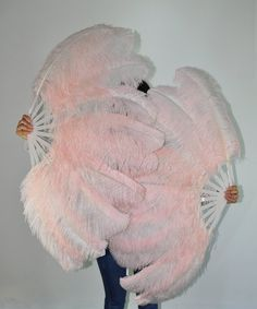 A pair Blush single layer Ostrich Feather Fan Burlesque set of 2 fans with gift box on Etsy, $140.00