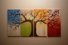 4 seasons tree. Woodburning and scrap paper. Created by Kara Deas.