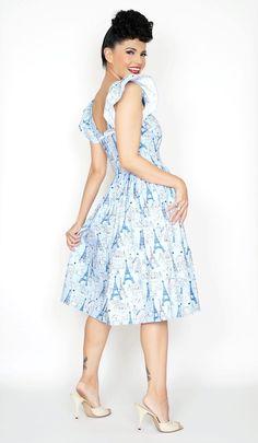 Loretta Dress in Parisian Blue Print