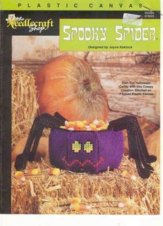 Spooky Spider, The Needlecraft Shop Plastic Canvas Pattern Leaflet 973023 Halloween Candy Dish Decoration Halloween Canvas, Halloween Ii, Halloween Spider, Halloween Crafts, Halloween Decorations, Plastic Canvas Books, Plastic Canvas Crafts, Plastic Canvas Patterns, Halloween Treat Holders
