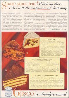 Pompeian Cake ~ Casserole Fruit Cake ~ Split 'em Chocolate Cake ~CRISCO VEGETABLE SHORTENING GOOD HOUSEKEEPING 11/01/1933