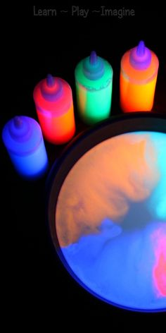 Glowing Milk Experiment ~  Supplies: milk fluorescent paint or flourescent watercolors squeezy bottles (eye droppers or pipettes may be substituted) dish soap q-tip, toothpick or craft stick black light