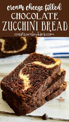 Extra zucchini? Give this Chocolate Zucchini Bread with Cream Cheese a try. Rich and chocolatey, with a tangy cheesecake filling. A perfect zucchini bread recipe for chocolate and cheesecake fans. #chocolatezucchinibread #creamcheesezucchinibread #zucchinibreadwithcreamcheese #chocolatezucchinibreadwithcreamcheese #quickbreadrecipe #zucchinirecipe -from Creations by Kara Healthy Chocolate Zucchini Bread, Zucchini Bread Recipes, Quick Bread Recipes, Fun Easy Recipes, Healthy Dessert Recipes, Delicious Desserts, Yummy Food, Healthy Zucchini, Yummy Treats