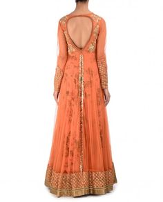 Burnt Orange Double Layered Anarkali Suit with Sequins - Kylee - Designers