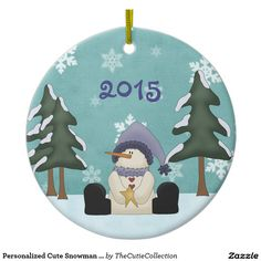 Personalized Cute Snowman Baby's First Christmas Double-Sided Ceramic Round Christmas Ornament