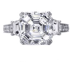 Three Stone Asscher Diamond Engagement Ring with Trapezoids 0.80 tcw.  Don't need the diamond band, don't mind filigree.