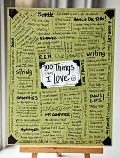 100 things that I Love. Great idea for students to put in their Writer's Notebook and use to help them find ideas for writing. Wonderful Art Journal idea, too! Teaching Writing, Writing Prompts, Writing Ideas, Writing Curriculum, Memoir Writing, Journal Inspiration, Journal Ideas, Smash Book Inspiration, Filofax