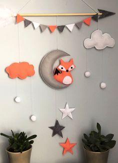 # walldecor # homedecor # felt # handmade # kidsdecor # fox # foxdecor - Baby decor- my work - Baby Crafts, Felt Crafts, Diy And Crafts, Crafts For Kids, Baby Room Decor, Nursery Decor, Baby Bumper, Fox Decor, Baby Mobile