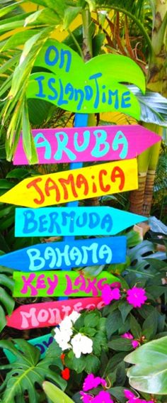 Tropical places signs, summer fun