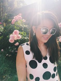 cute sunnies, glam sunnies, sunglasses, polka dot tops, polka dot shirts, cute outfit