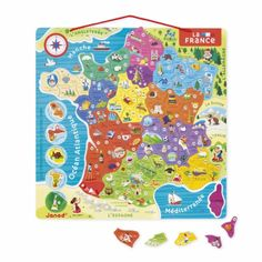 Carte de France avec la nouvelle découpe des régions. Puzzle en bois de 94 pièces. Sur chaque magnet : le numéro et le nom du département, le chef-lieu et une illustration d'une spécialité locale. Livré avec un tableau magnétique à suspendre. Permet d'apprendre la géographie tout en s'amusant.