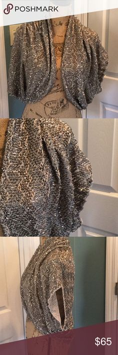 Alice and Olivia sequin beaded shrug Cotton shrug with metallic beads. Worn only once. No signs of wear. Alice + Olivia Sweaters Shrugs & Ponchos