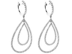 1.98 tcw Double Drop Dangling Hoop Earrings with Diamonds Set in 18k White Gold