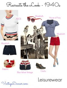 Team high-waisted shorts with a striped top for a 1940s inspired casual look at VintageDancer.com/1940s