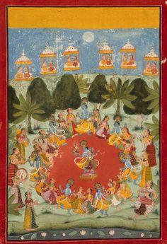 Rasa Lila - Krishna's Dance of Delight India, Rajasthan, Bundi, circa 1675-1700 Drawings; watercolors Opaque watercolor and gold on paper Image: 11 7/8 x 8 1/2 in. (30.16 x 21.59 cm); Sheet: 14 3/8 x 9 3/4 in. (36.51 x 24.76 cm)