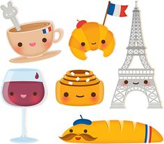 Miss Soft Crab: French Friday (AM) via blogspot.com -- Kawaii, Eiffel tower, croisant, latte, wine