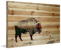 'Lost Buffalo' by Parvez Taj Painting Print on Natural Pine Wood