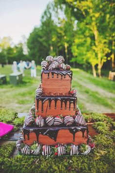 chocolate cake with strawberries - photo by Teale Photography http://ruffledblog.com/colorful-southern-wedding-with-whimsy