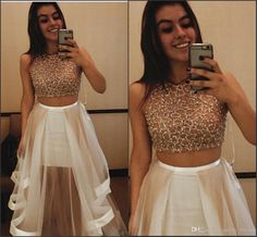 2016 Beautiful Champagne Two Pieces Prom Dresses Long Satin Sides See Though Back Cap Sleeve Tiered Jewel Zipper Dresses Evening Wear Gowns Different Prom Dresses Edgy Prom Dresses From Molly_bridal, $94.42| Dhgate.Com