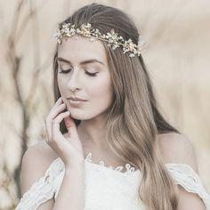 Bridal Halo Bohemian Gold Vine Halo Gold Leaf door LavenderByJurgita  Diademas cacd14673f54