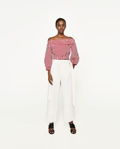 ZARA - WOMAN - OFF-THE-SHOULDER STRIPED BLOUSE