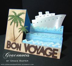 I loved making this Bon Voyage step card. I visualized the whole thing before even beginning. The steps really lend thems. Bon Voyage Cards, Birthday Wishes Flowers, Side Step Card, Stepper Cards, Beach Cards, Retirement Cards, Travel Cards, Cricut Cards, Custom Cards