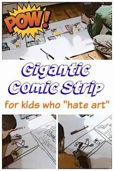 "Kids Who ""Hate Art"": Make Your Own (Giant) Comic Strip Comic art. Inspire your reluctant artists with a giant comic strip art project. Inspire your reluctant artists with a giant comic strip art project. Activities For Teens, Art Therapy Activities, Super Hero Activities, Dinosaur Activities, Library Activities, Summer Activities, Middle School Art, Art School, High School"