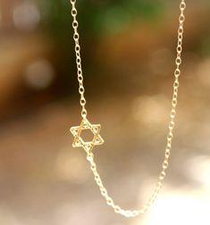 Star of David Necklace Gold Sideways Jewish Star of by JulJewelry
