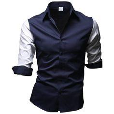 Designer Clothes, Shoes & Bags for Women Mens Sleeve, 3 4 Sleeve Shirt, Men's Shirts, Dress Shirts, Mens Tux, Prom Looks, Sleeved Dress, Quarter Sleeve, Men's Clothing