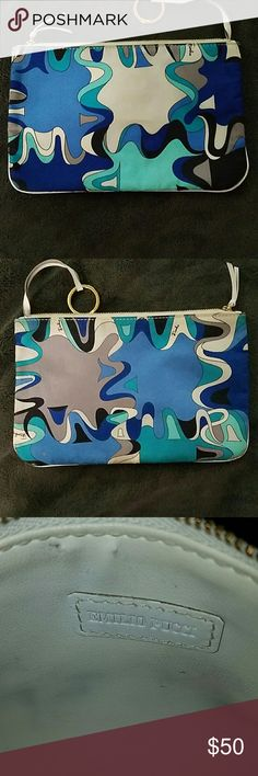 Gorgeous Emilio Pucci wristlet Authentic Emilio Pucci wristlet/make up bag. Immaculately clean on the outside, a few small marks on the inside. Measurements: 9x6 Emilio Pucci Bags Clutches & Wristlets
