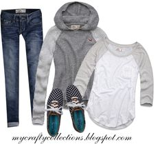 #Comfy Outfit - Sweater, Tee, Jeans & Keds