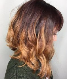 Curly Angled Lob With Bangs