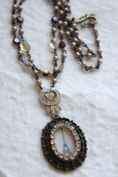 Parisian Sparkle-Vintage assemblage necklace by frenchfeatherdesigns on Etsy