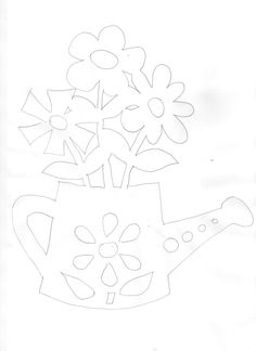 Gießkanne mit Blümchen Doodle Coloring, Coloring Books, Coloring Pages, Cricut Stencils, Mosaic Stepping Stones, Diy And Crafts, Paper Crafts, Scroll Saw Patterns, Paper Stars