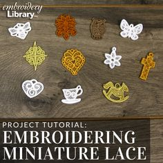 See how to embroider miniature lace designs from Embroidery Library. Embroidery Applique, Machine Embroidery Designs, Royal Frosting, Sewing Hacks, Sewing Tips, Lace Design, Fiber Art, Miniatures, Crafty