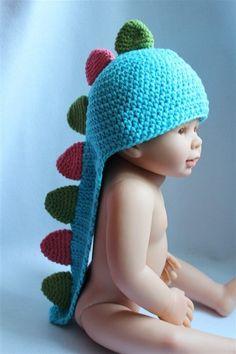 Crochet Gorgeous Cute Handmade Baby Knit Sky-blue/Hot-pink/Green Newborn Dinosaur Hat