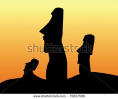 black silhouettes of the idols of Easter Island on an orange background - stock vector Easter Island, Black Silhouette, Orange Background, Tattoo Ideas, Royalty Free Stock Photos, Crafting, The Incredibles, Illustration, Bags